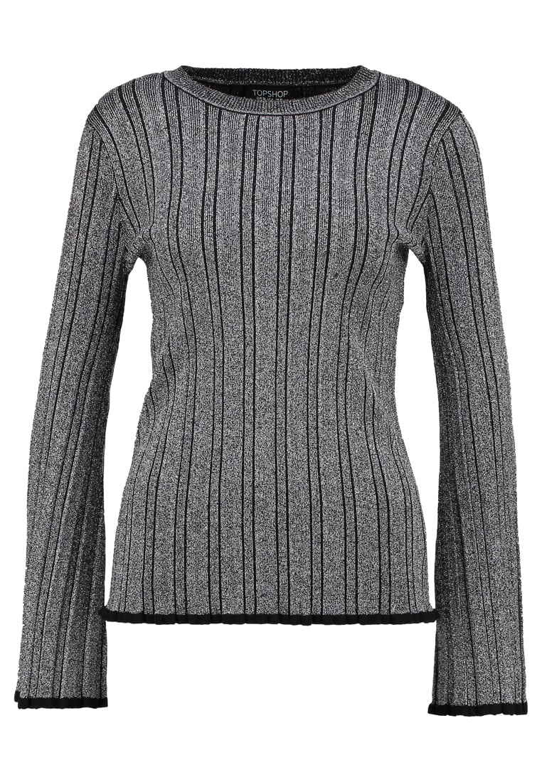 Topshop PLEAT  Sweter silver