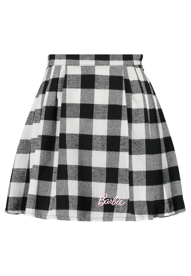 Missguided BARBIE CHECK PLEATED SKIRT Spódnica trapezowa black - WSS9997406