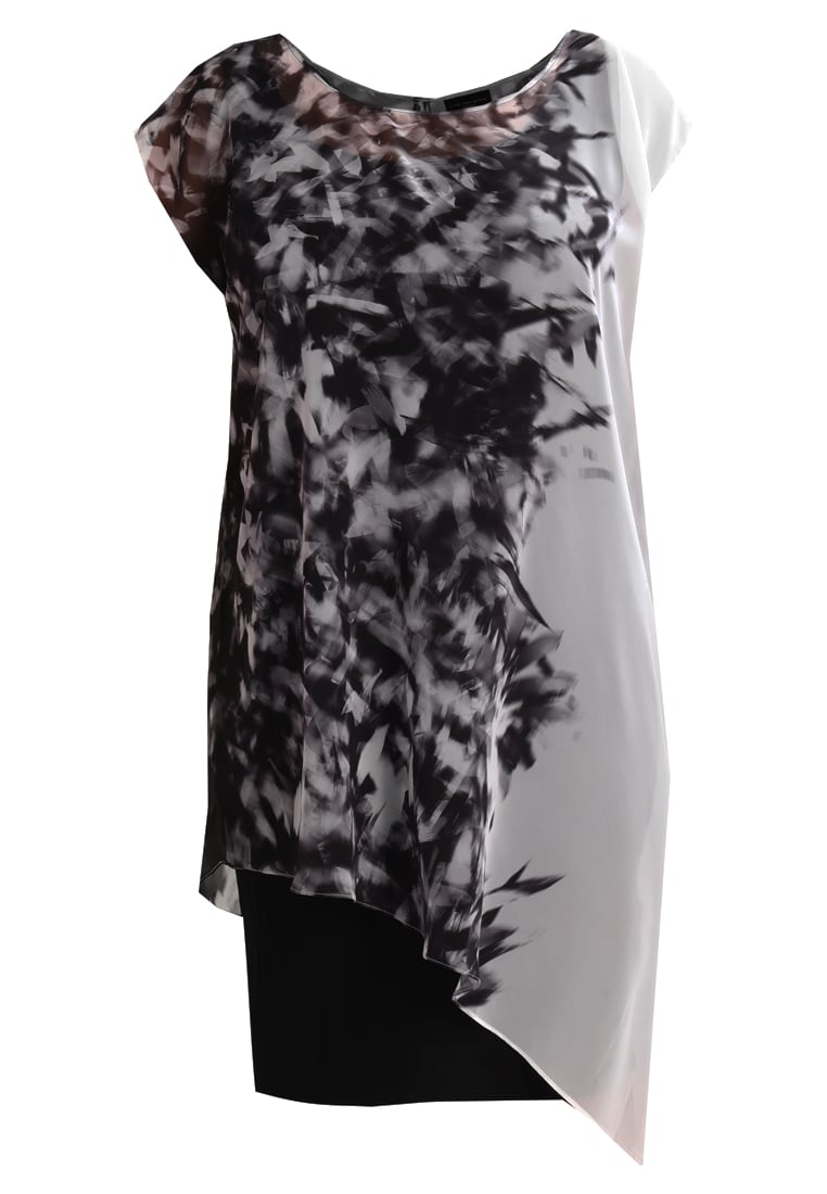Live Unlimited London ABSTRACT FEATHER BORDER OVERLAY DRESS Sukienka letnia black - LU656
