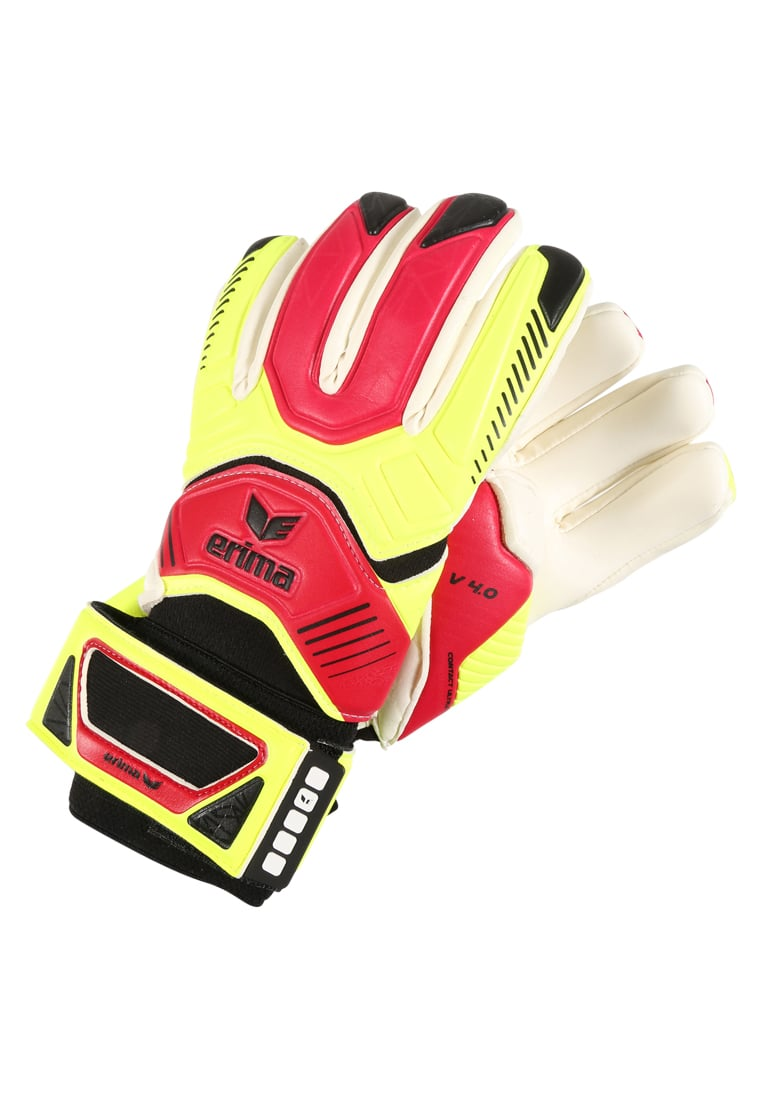 Erima CONTACT ULTRA GRIP 4.0 Rękawice bramkarskie neon yellow/red - 07-0190