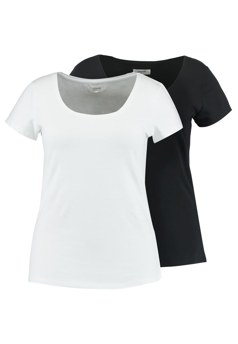 Zalando Essentials Curvy 2 PACK Tshirt basic black/white -