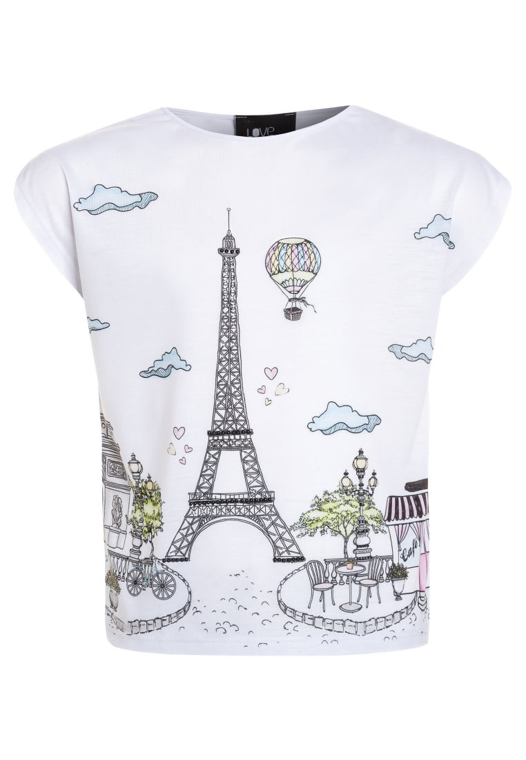 Love Made Love EIFFEL TOWER Tshirt z nadrukiem white - 170175B