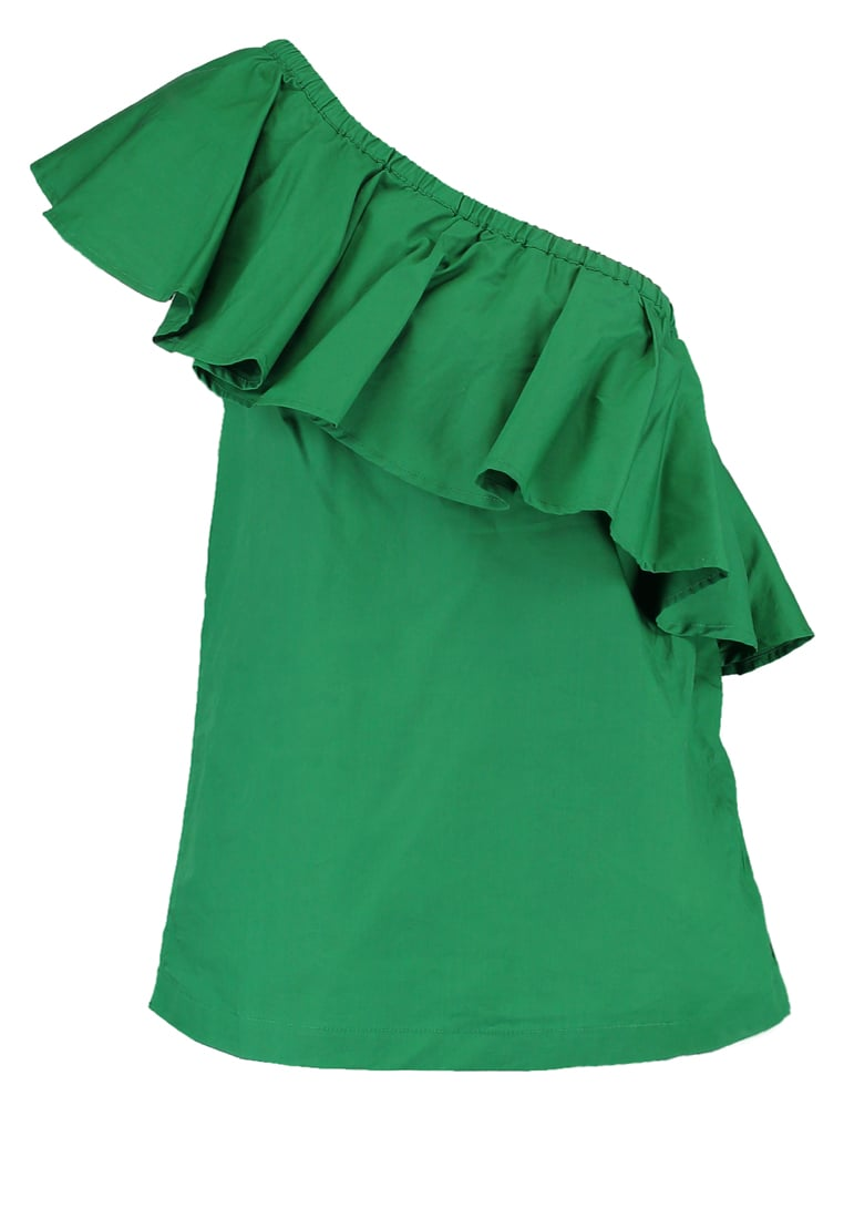 Warehouse Bluzka green - Cotton Ruffle One Shoulder Top