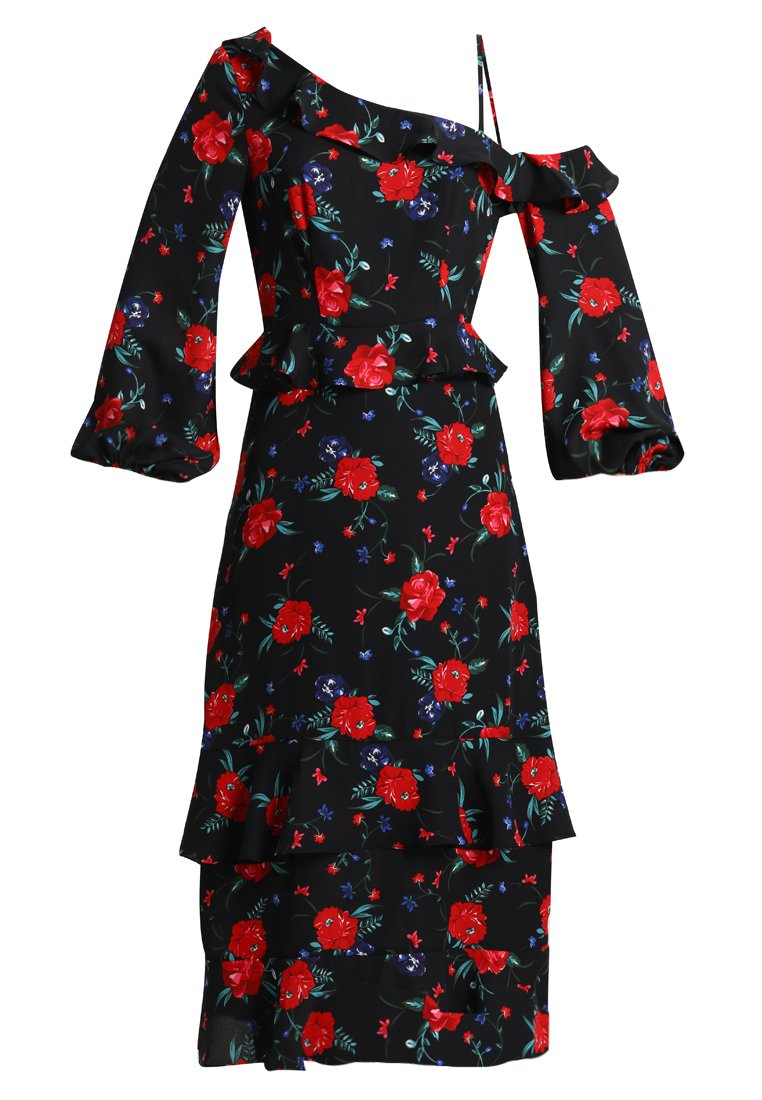 Fashion Union Petite FLORAL PRINT MIDI DRESS WITH ONE SHOULDER Długa sukienka multicolor - FUDL01511