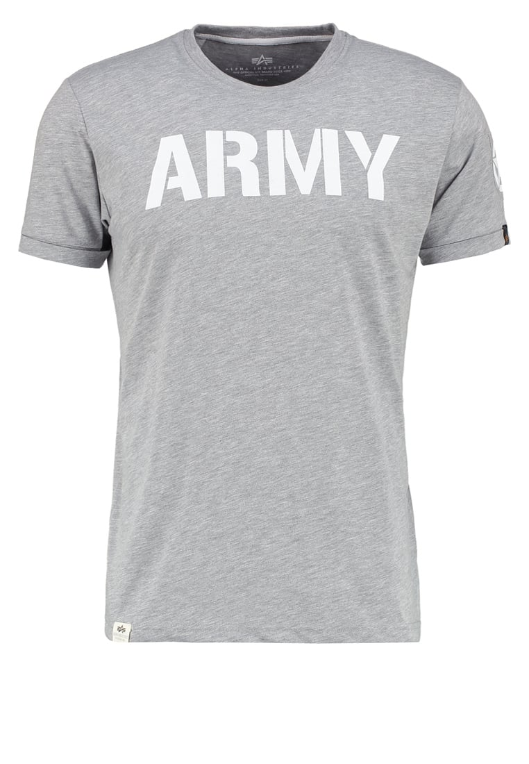 Alpha Industries ARMY Tshirt z nadrukiem grey heather - 176502
