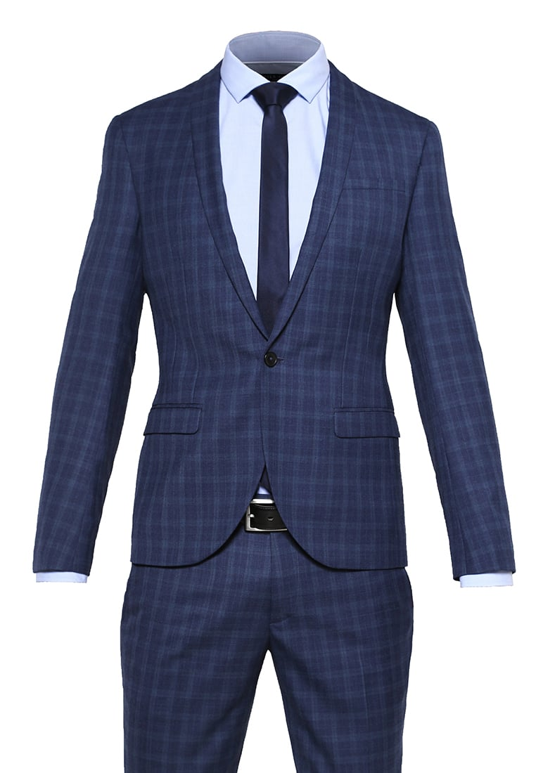 Noose & Monkey ELLROY Garnitur blue - Ellroy SB1 Shawl Blue on Blue Check Texture Navy 2 piece Suit