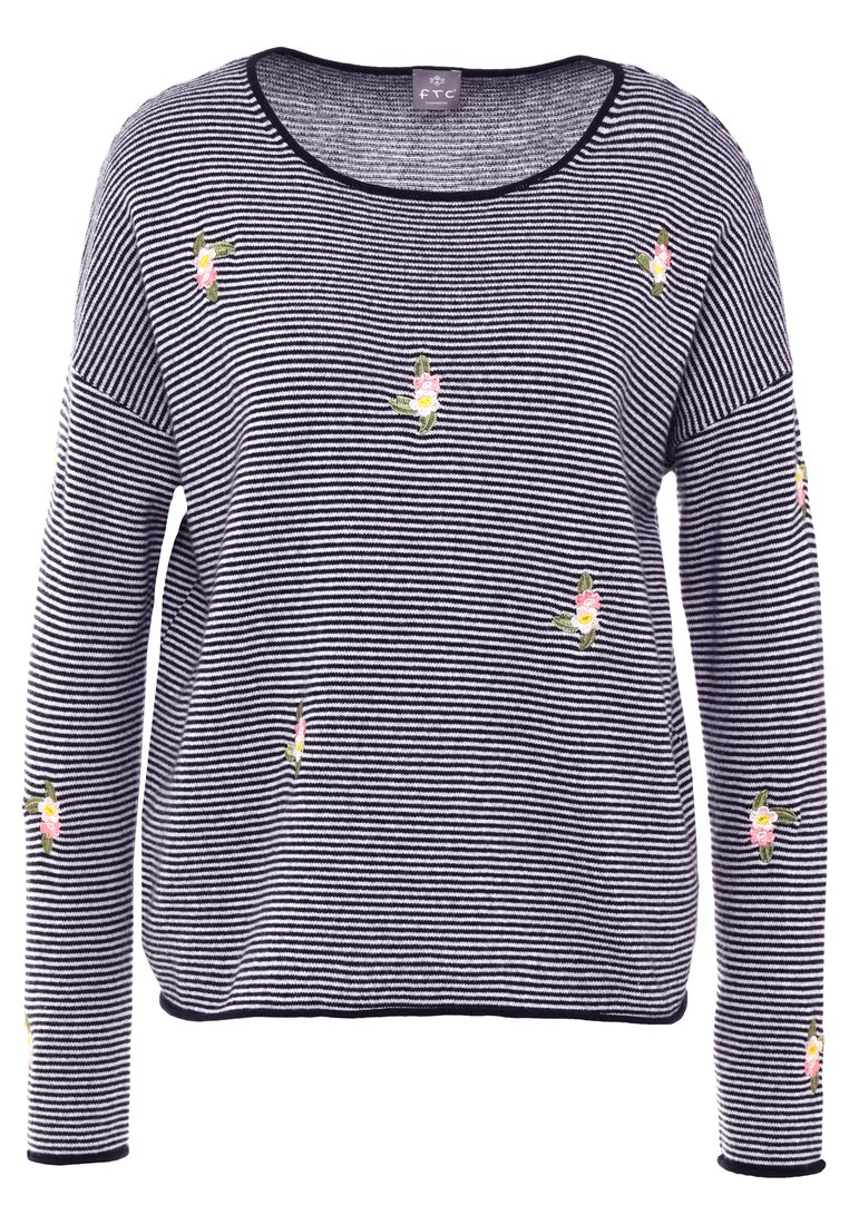 FTC Cashmere EMBROIDERY Sweter dark blue - 710-0310