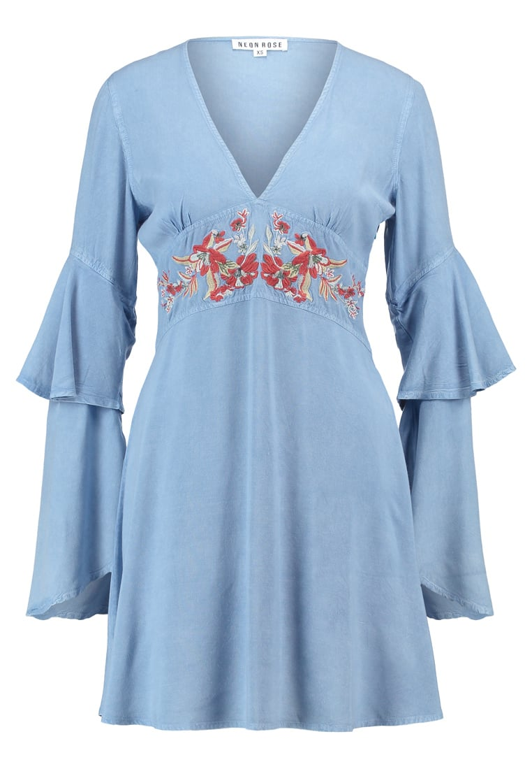 Neon Rose EMBROIDERED BABYDOLL Sukienka letnia blue - NRDR315