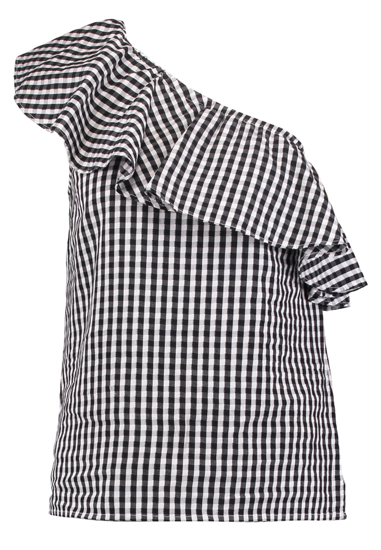 Warehouse Bluzka black/white - Gingham Ruffle One Shoulder Top