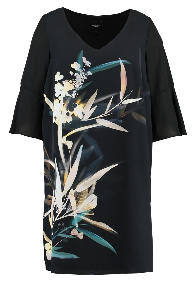 Live Unlimited London BAMBOO FLORAL PLACEMENT Sukienka letnia black - LU716