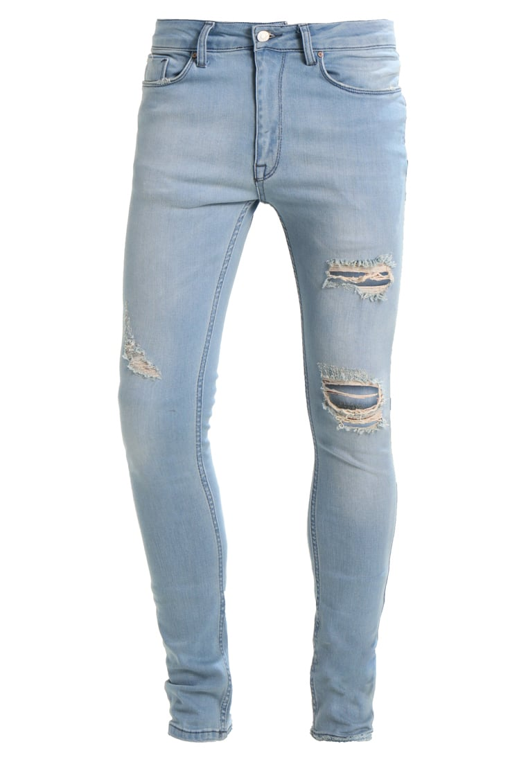 Antioch RIPPED SPRAY ON Jeansy Slim Fit light blue wash - ANMDN0109IND