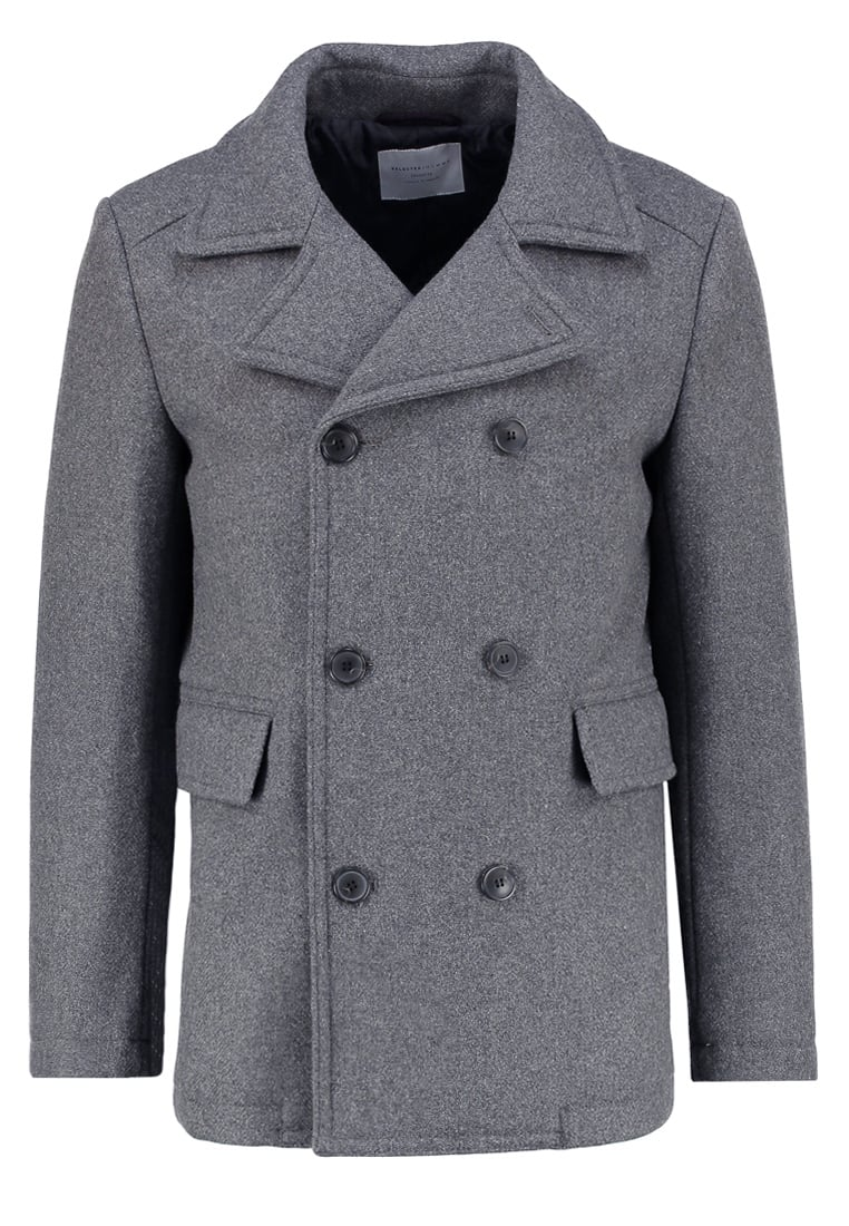 Selected Homme Krótki płaszcz medium grey melange - 16051275
