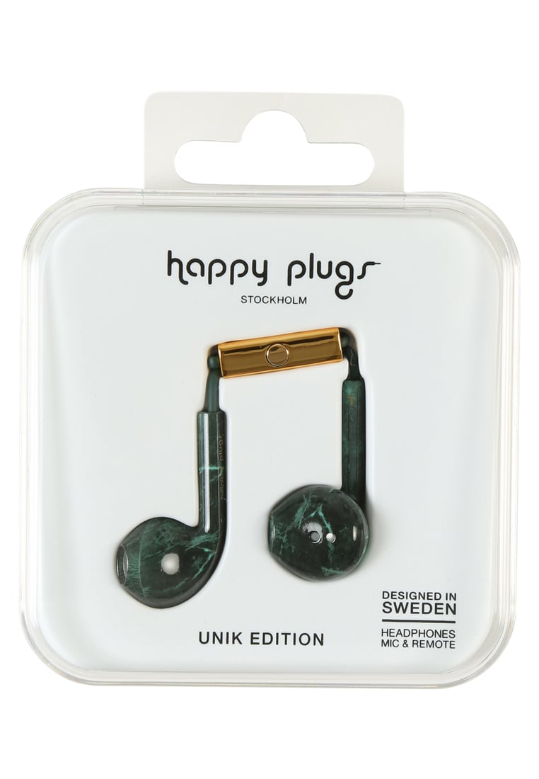 Happy Plugs UNIK EARBUD PLUS Słuchawki green marble - Happy Plugs Unik Earbud Plus
