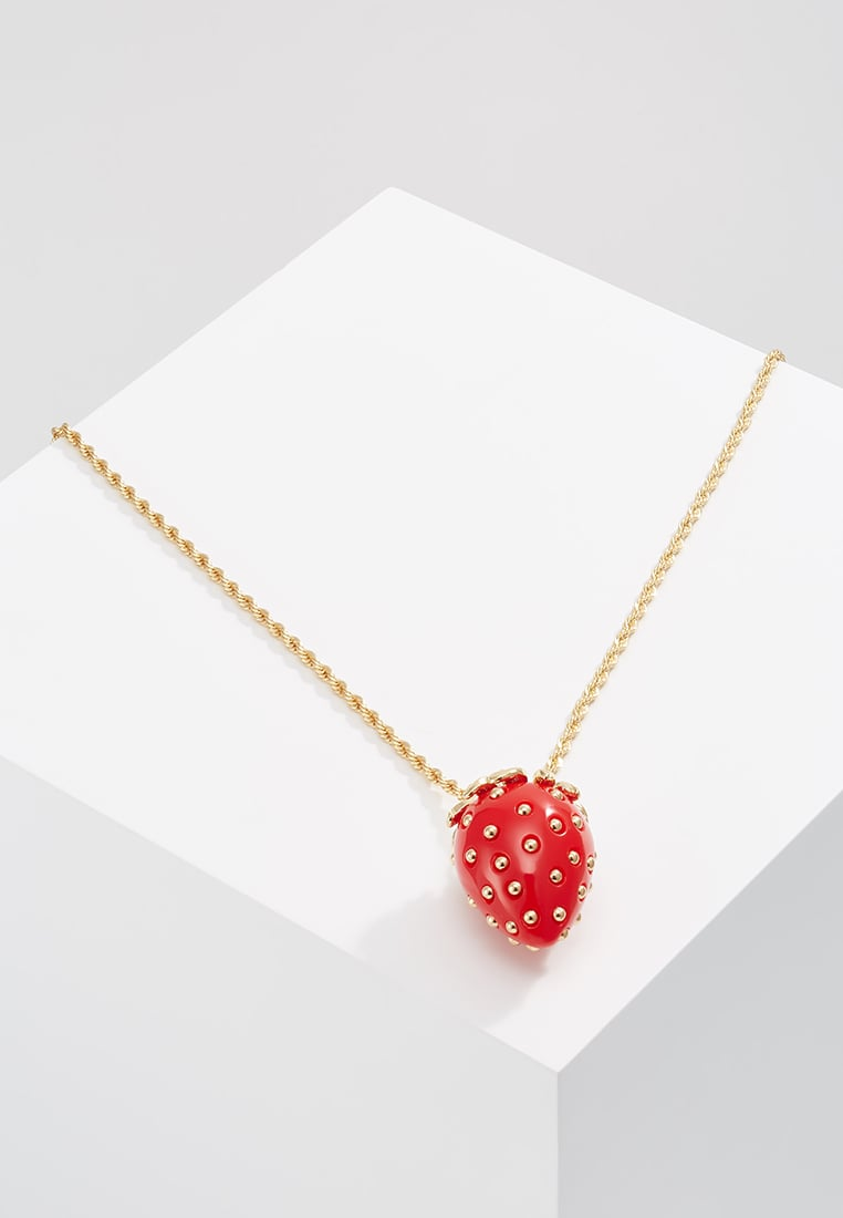 Kenneth Jay Lane CHAIN STUDS STRAWBERRY PENDANT Naszyjnik red - 2773NR