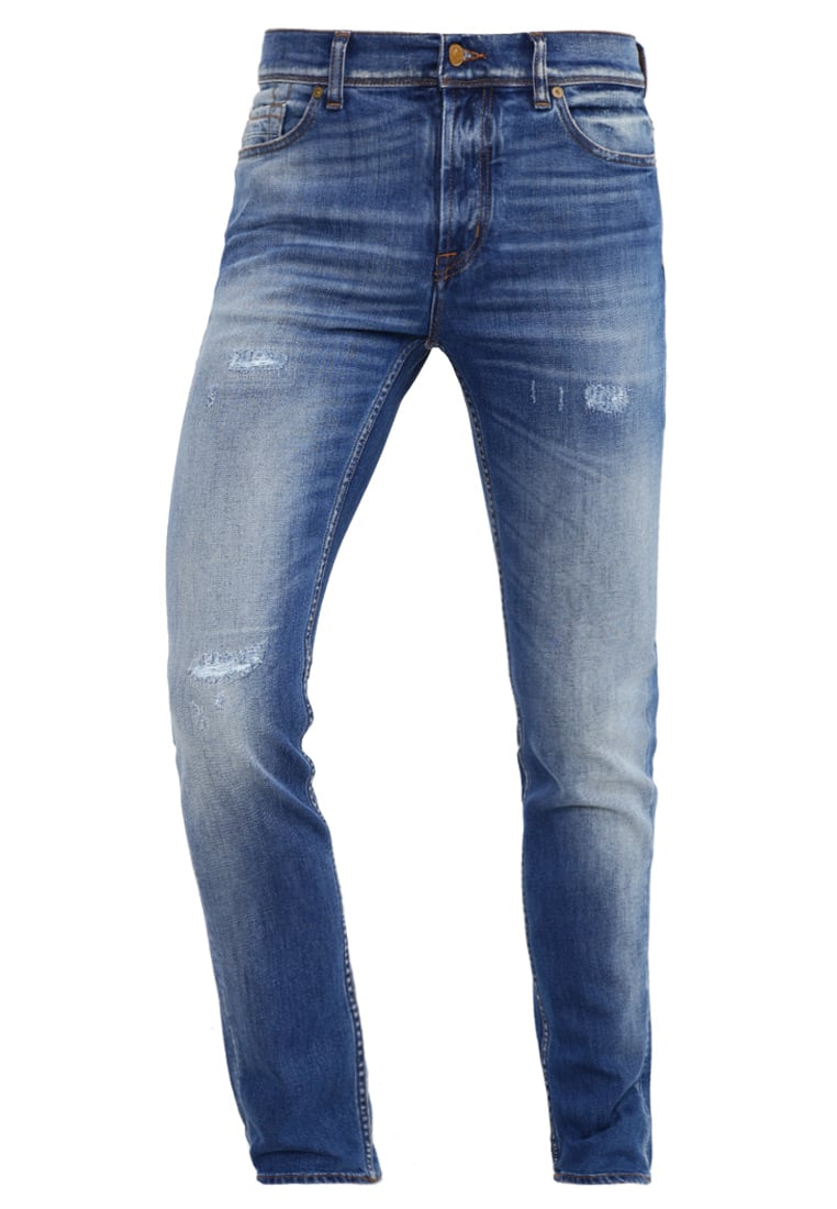 7 for all mankind RONNIE Jeansy Slim fit mid blue destroyed - SD4R420YB