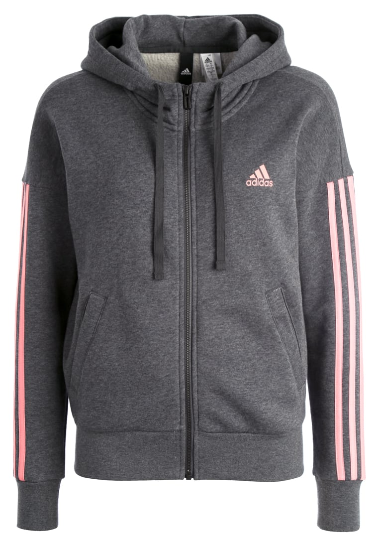 adidas Performance ESSENTIALS Bluza rozpinana Dark grey heather/tactile rose - BX372