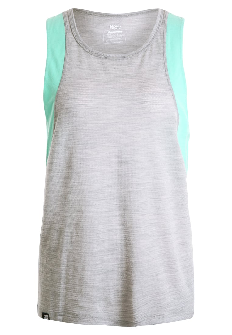 Mons Royale KASEY Top grey marl/peppermint - 52088