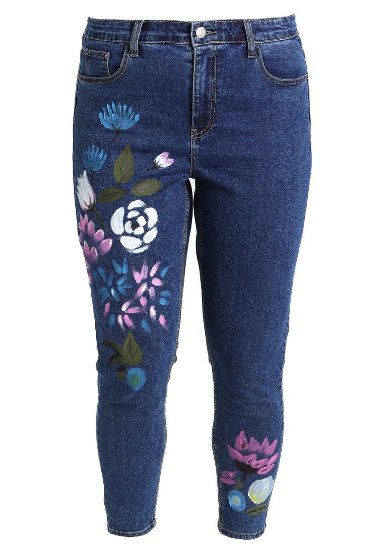 Glamorous Curve FLORAL PAINTED Jeansy Slim Fit mid blue - KA6109X