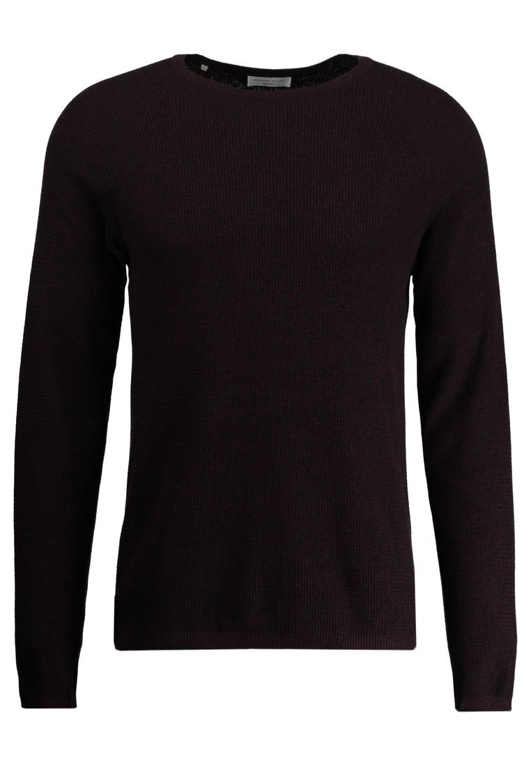 Selected Homme CREW NECK Sweter decadent chocolate/black - 16041852