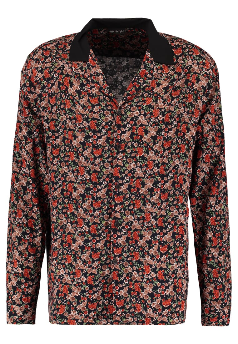 12 Midnight FLORAL WITH CONTRAST REVER COLLAR Koszula black base/red - ZMS005B � LONG SLEEVE