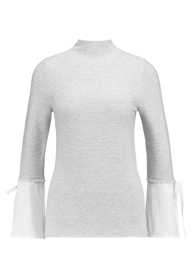 Mint Velvet CUFF FUNNEL NECK Sweter silver grey/ivory - 11572