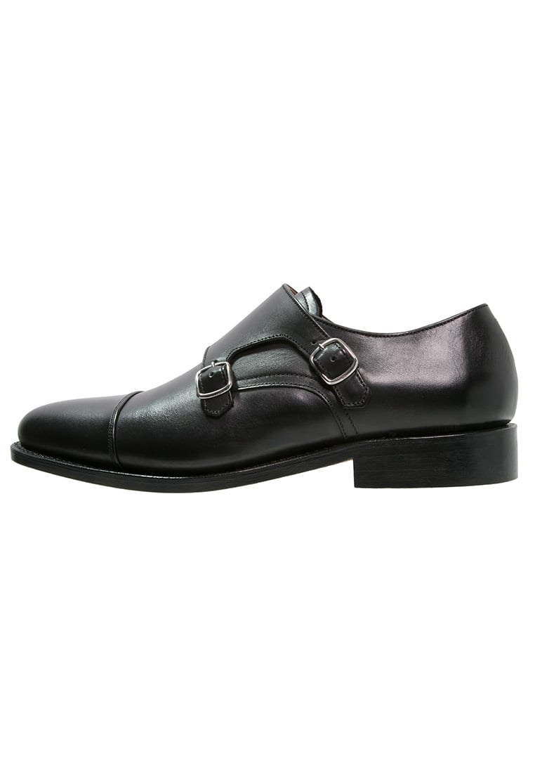Peralston Eleganckie buty black - PE-DM-01 DOUBLE MONK Smooth Leather