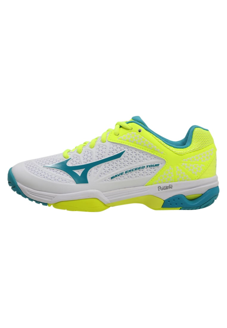 Mizuno WAVE EXCEED TOUR 2 ALLCOURT Buty do tenisa Outdoor white/tileblue/yellow - 61GA1671