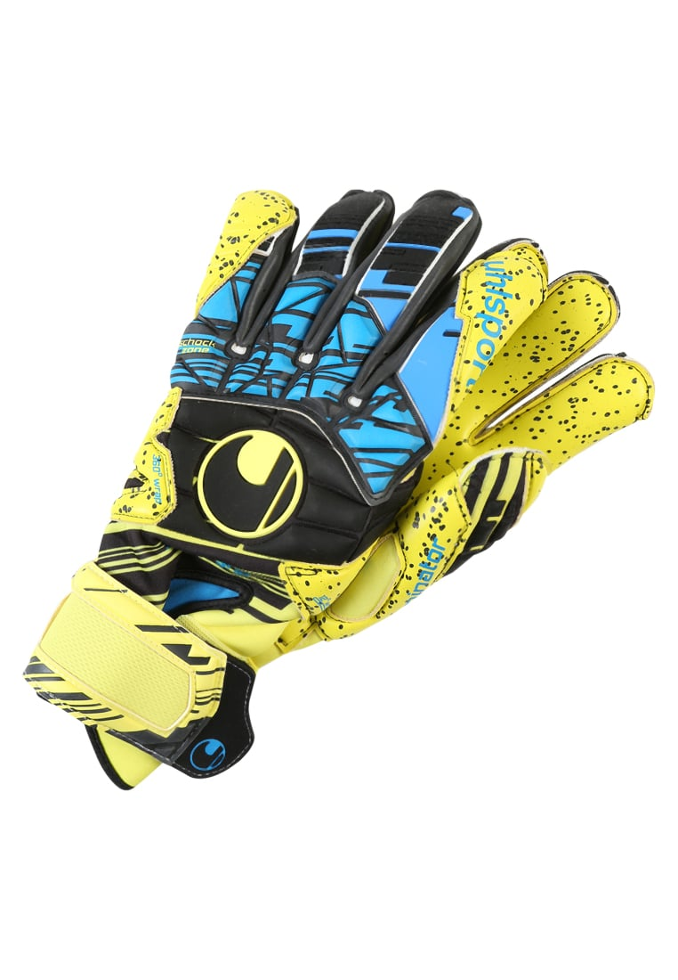 Uhlsport ELIMINATOR SPEED UP SUPERGRIP Rękawice bramkarskie lite fluo gelb/schwarz/hydro blau - 1011002