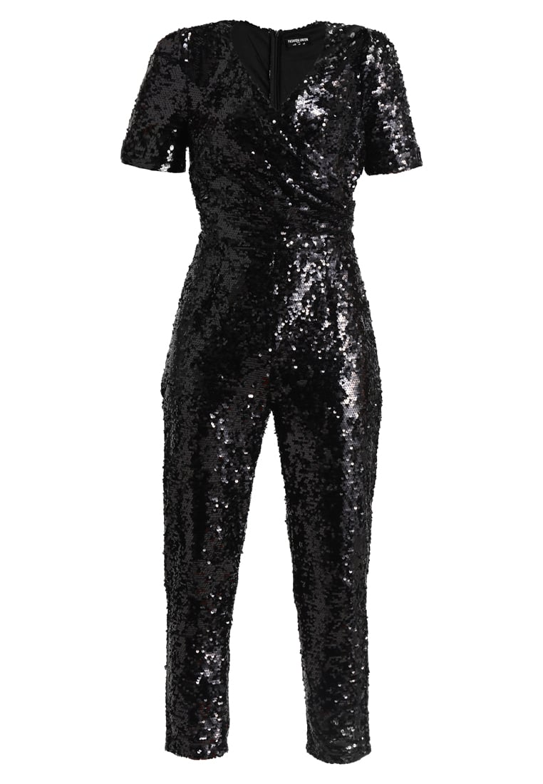 Fashion Union Petite DION SEQUIN JUMPSUIT Kombinezon black - FUEL00910
