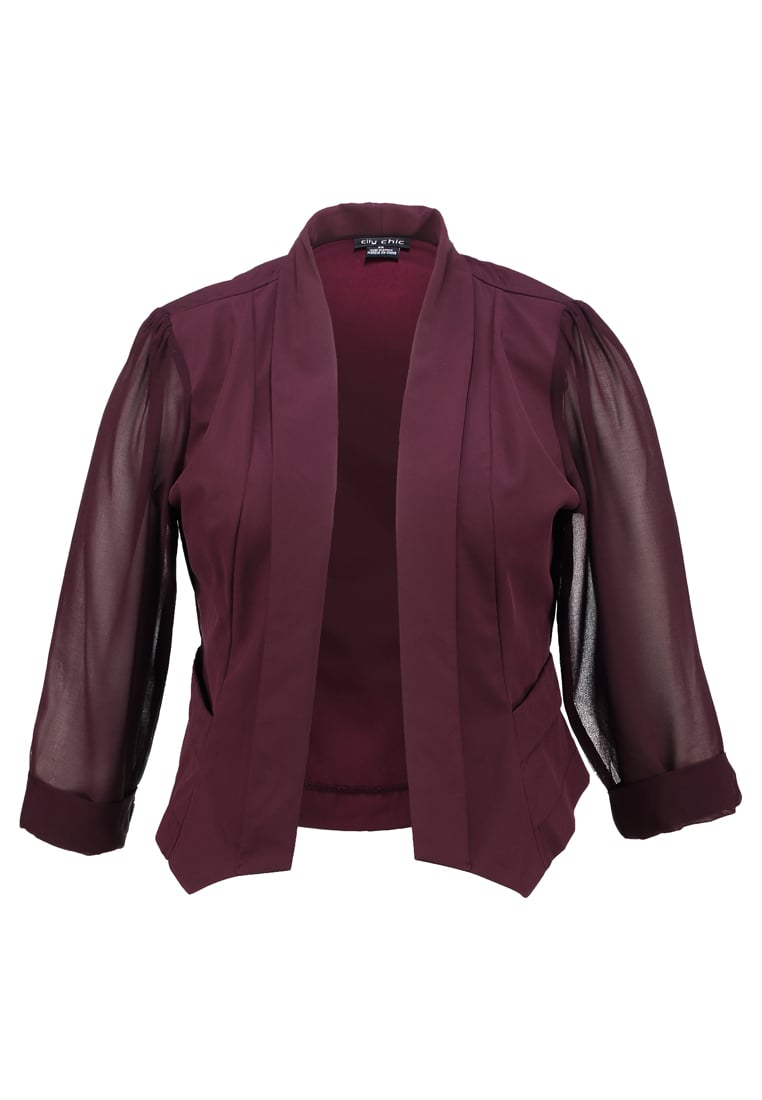 City Chic CROP Żakiet ox blood - 00122059