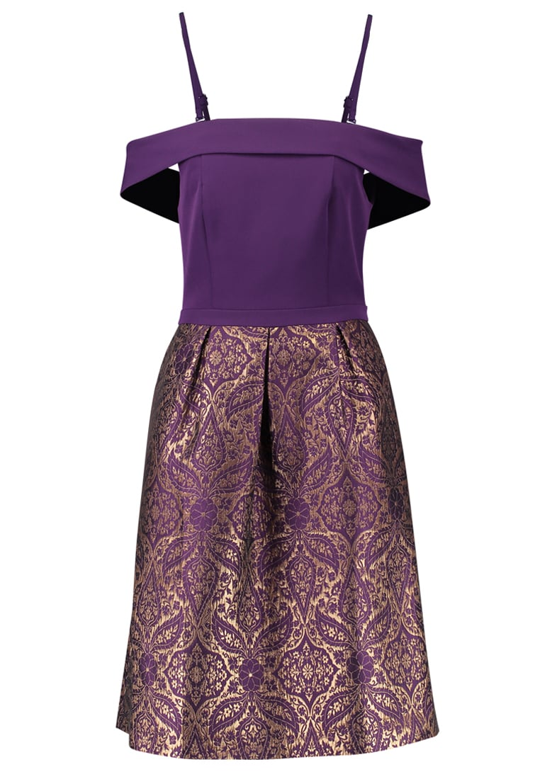 Oasis BAROQUE 2 IN 1 JACQUARD MIDI DRESS Sukienka koktajlowa purple - 64008