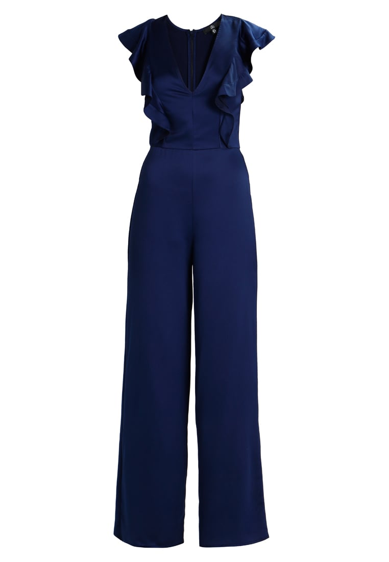 Missguided Tall CONTRACT FRILL PLUNGE WIDE LEG Kombinezon navy - WXY9202102