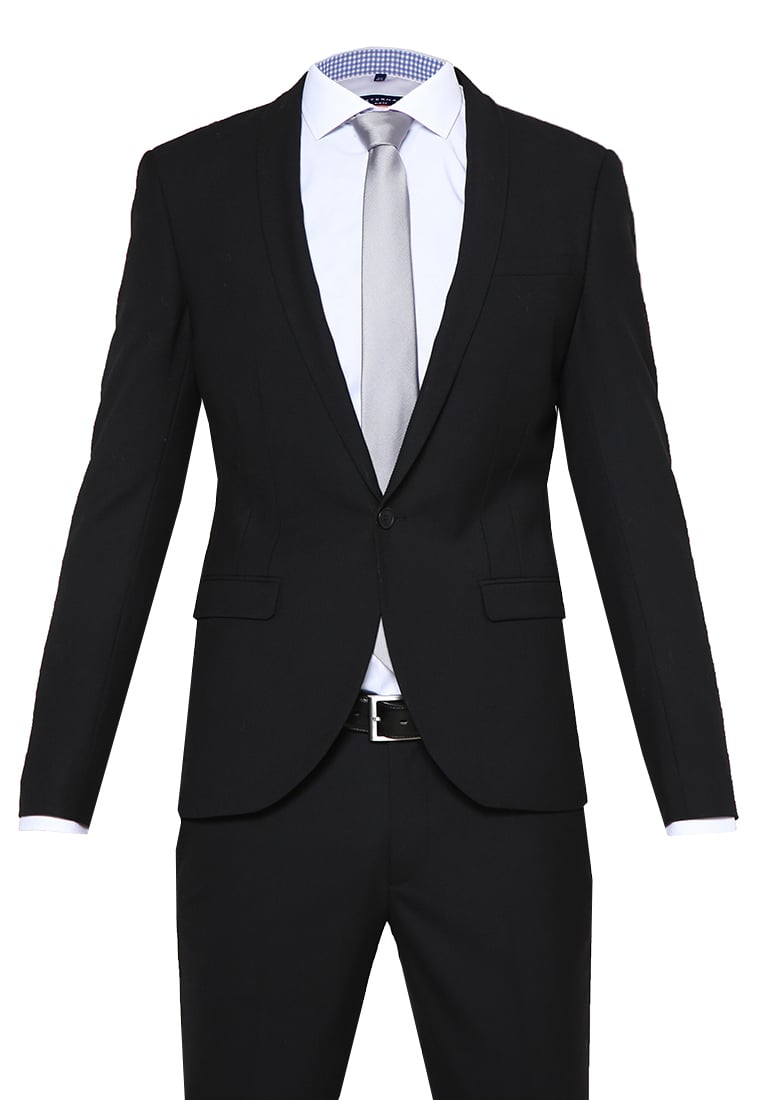 Noose & Monkey ELLROY Garnitur black - Ellroy SB1 Shawl Plain Black 2 piece Suit