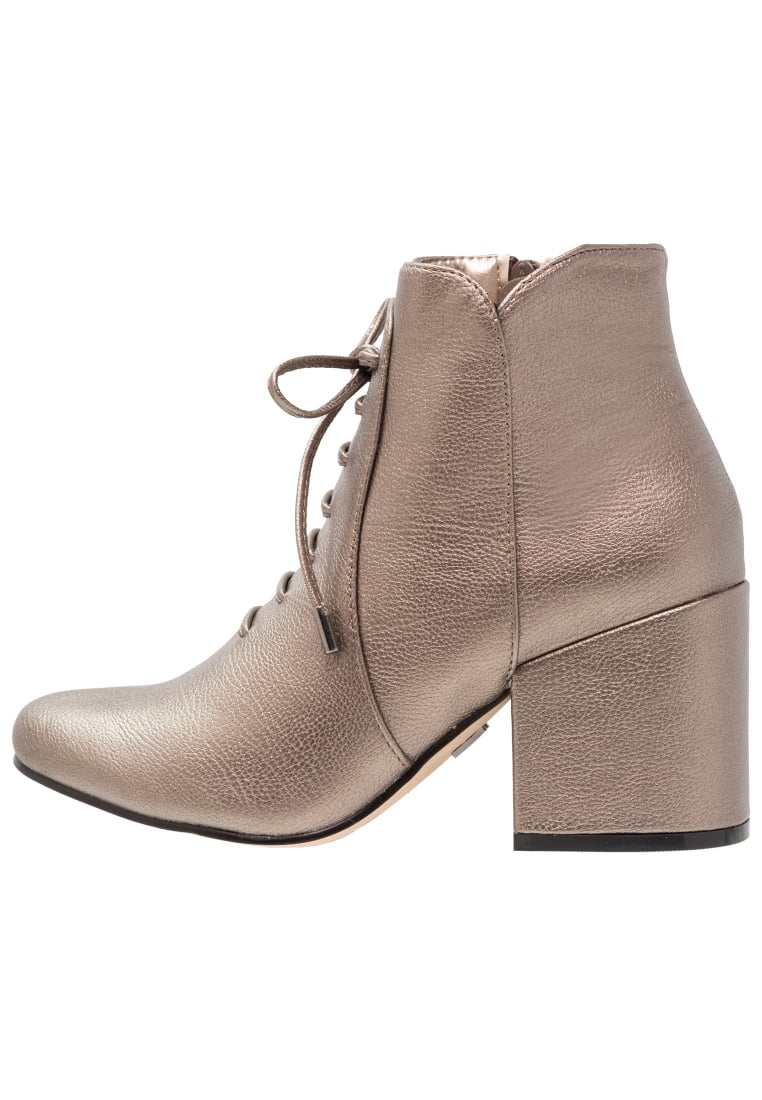 Lost Ink Wide Fit DITA LACE UP BLOCK HEEL ANKLE BOOT Ankle boot pewter - 0604118010070085