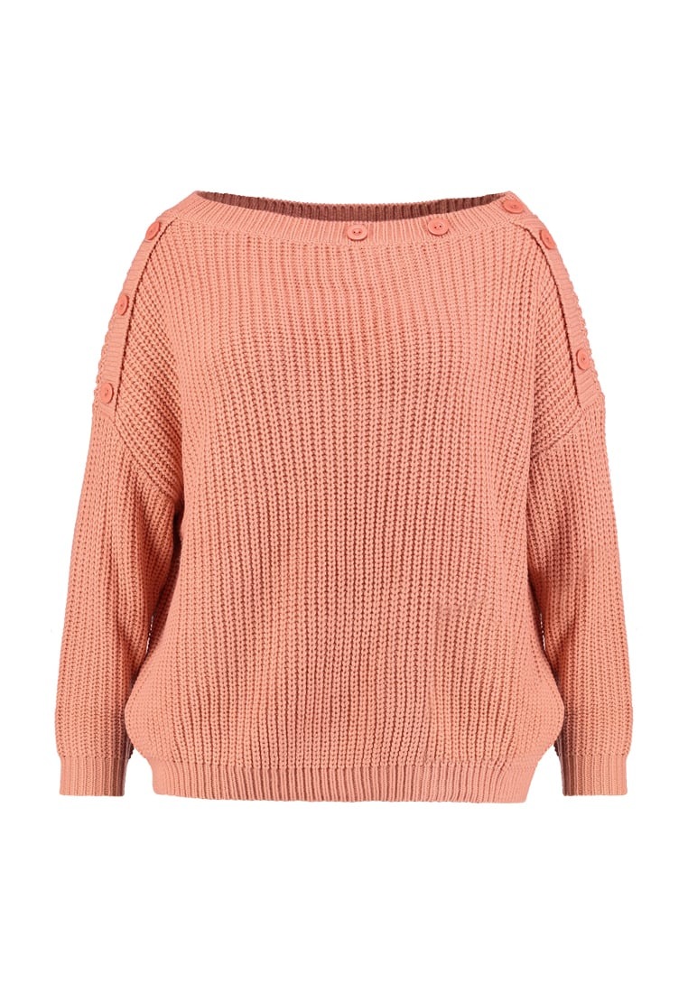 Missguided Plus OF SHOULDER BUTTON DETAIL JUMPER Sweter salmon pink - WXV9772428