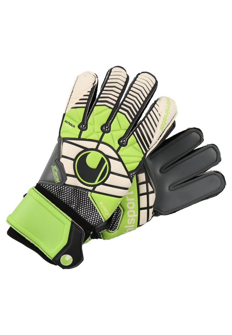 Uhlsport ELIMINATOR SUPER Rękawice bramkarskie schwarz/blau/power green - 1000189