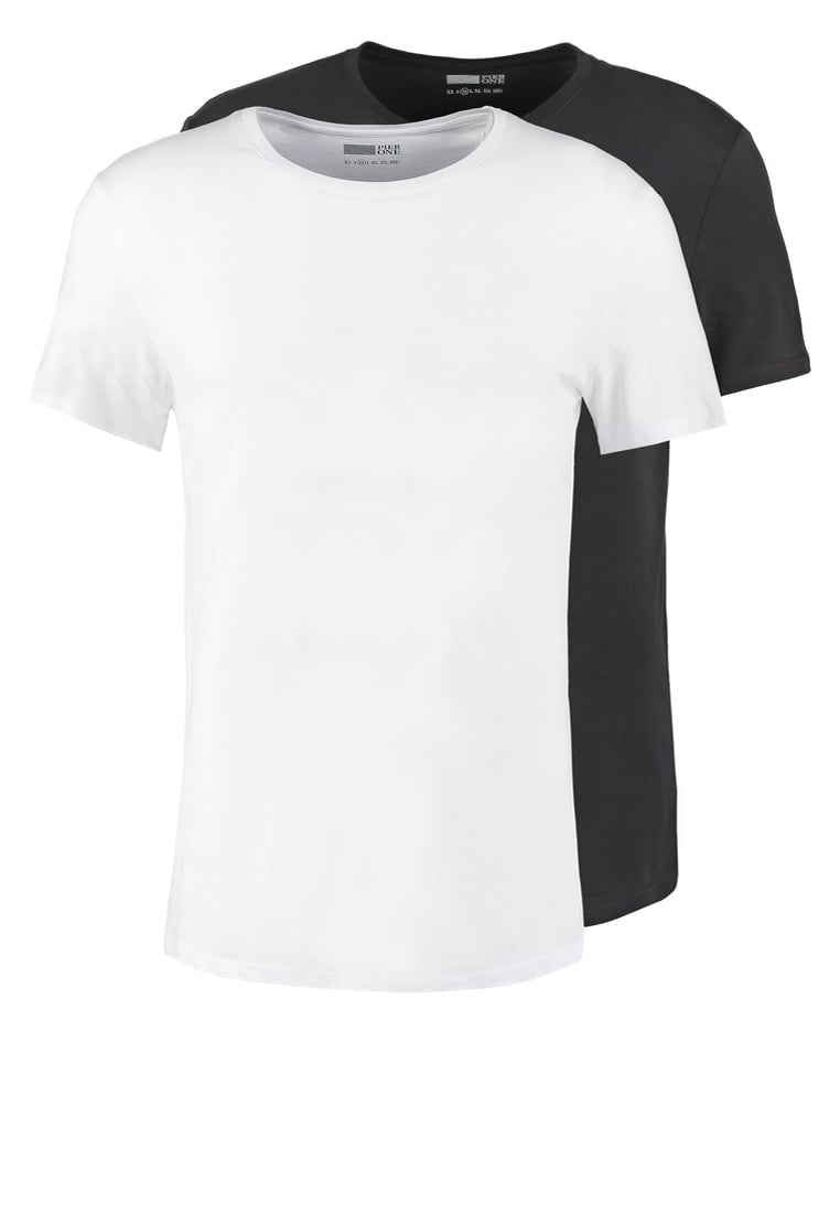 Pier One 2 PACK Tshirt basic white/black - PM-BAS0-0112