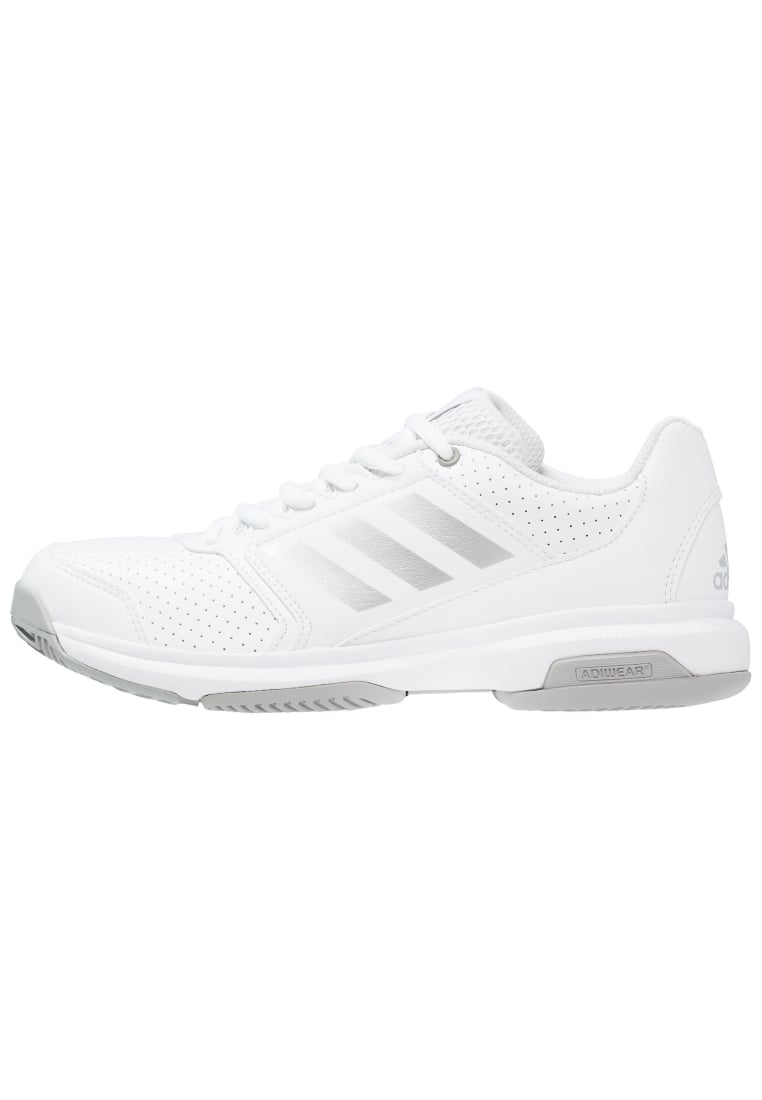 adidas Performance ADIZERO ATTACK Buty do tenisa Outdoor white/silver metallic/magnet solid grey - KDJ65