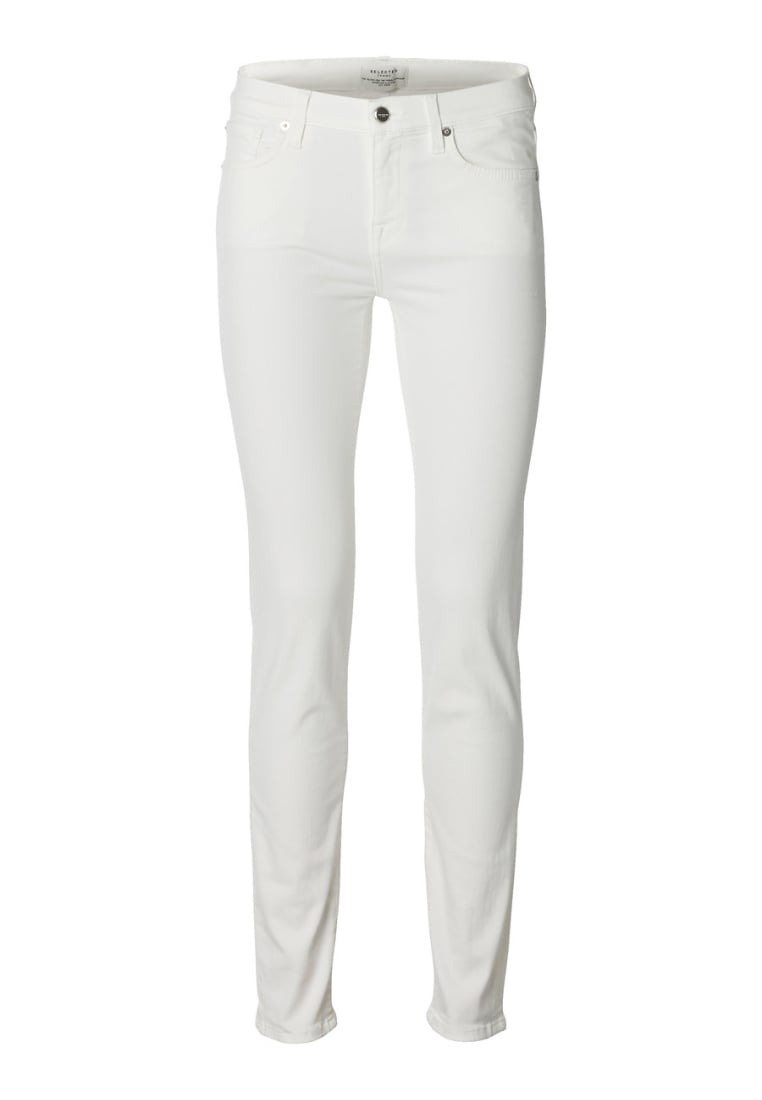 Selected Femme Jeansy Slim fit white denim - 16049136