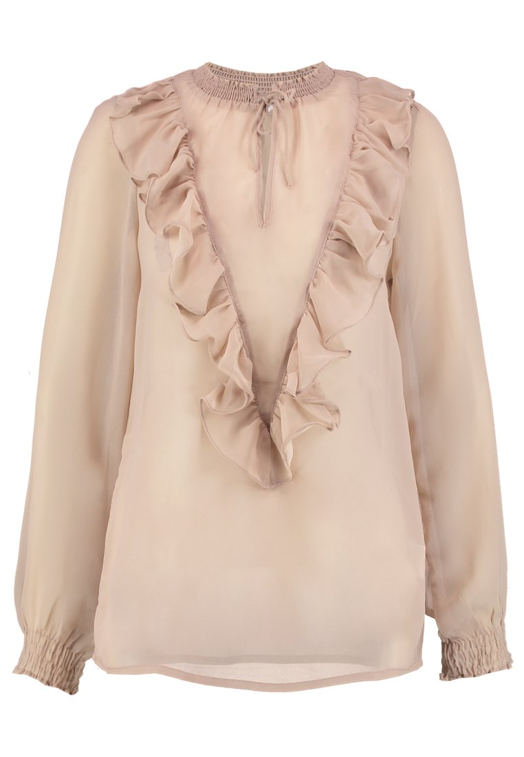 Saint Tropez BLOUSE WITH RUFFLE Bluzka fawn - R1067
