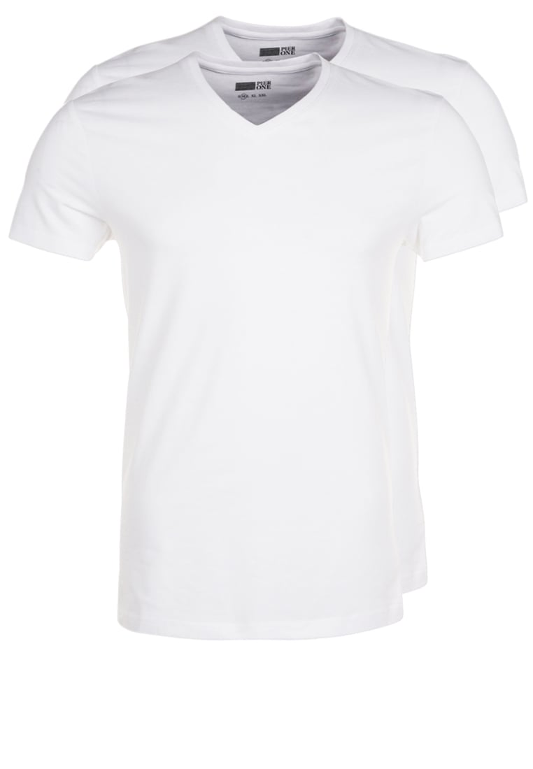 Pier One 2 PACK Tshirt basic white - PM-BAS0-0119