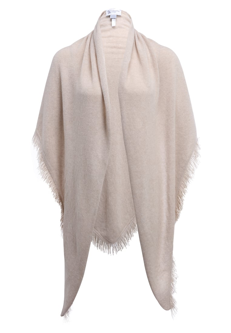 Johnstons Cashmere FRINGED TRIANGLE SCARF Ponczo natural - HAE02232