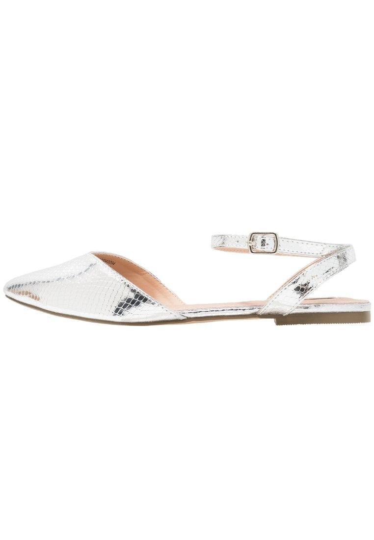 Lost Ink Wide Fit ELLIE POINTED ANKLE STRAP Sandały silver - 100411802004
