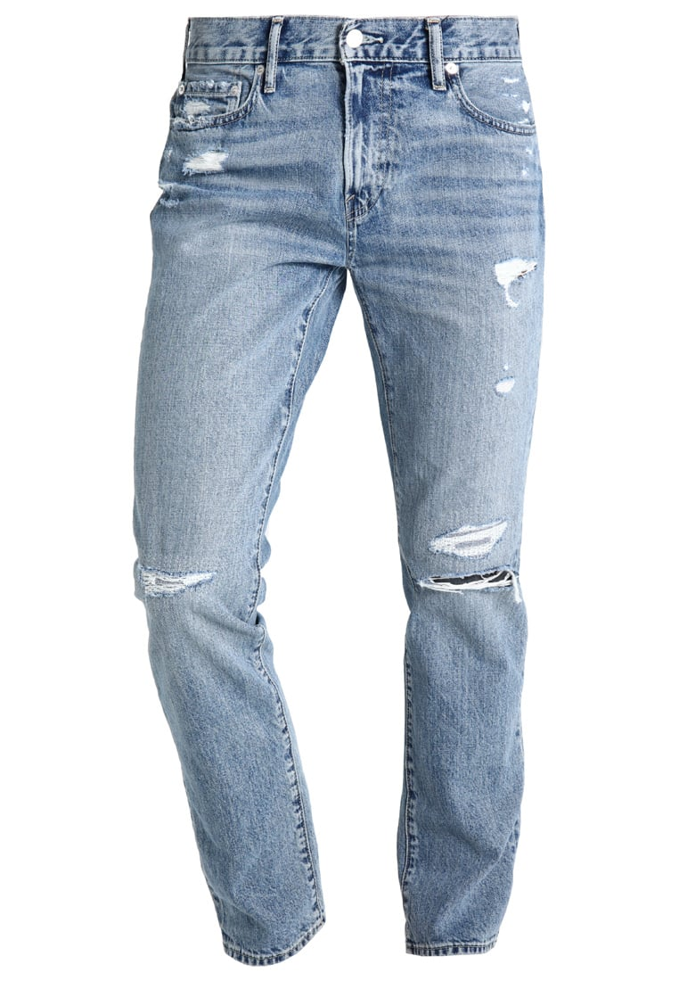 Abercrombie & Fitch Jeansy Slim fit destroyed light denim - KI131-7008