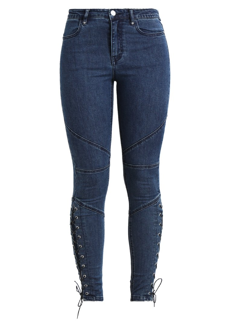 Missguided ANARCHY SEAMED CROSS LACE SKINNY Jeans Skinny Fit blue - WSG1803107