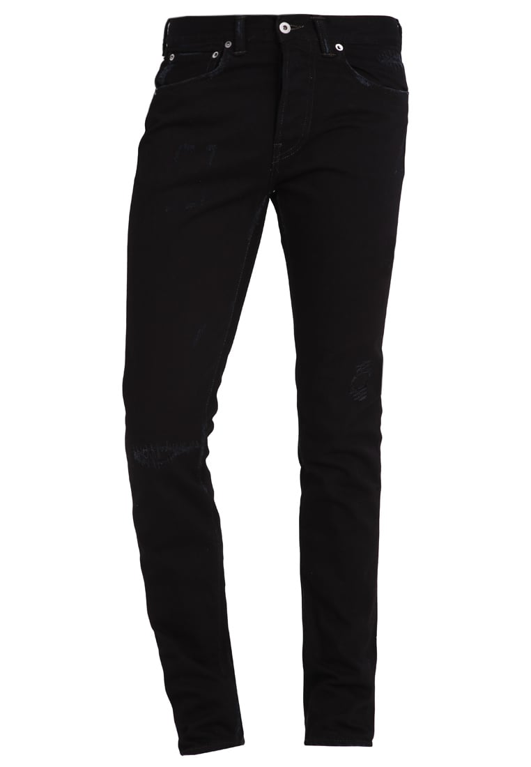 Edwin ED80 Jeansy Slim fit damaged black od - IO22500