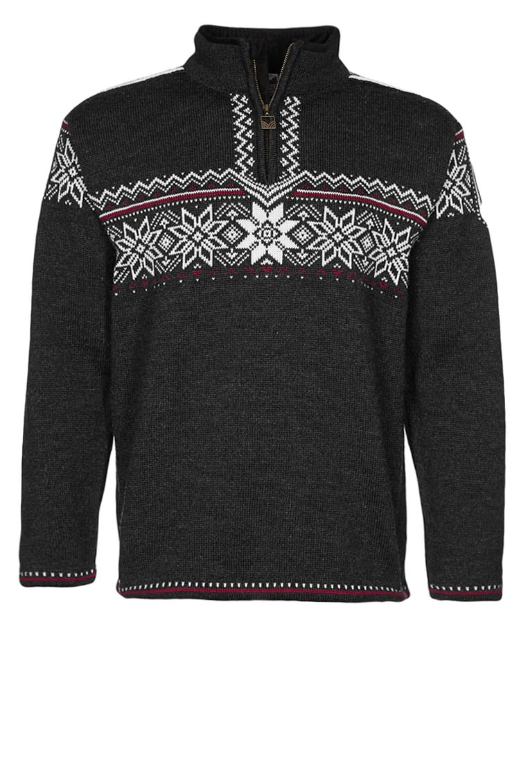 Dale of Norway HOLMENKOLLEN Sweter dark chracoal/off white/red roses - 91541