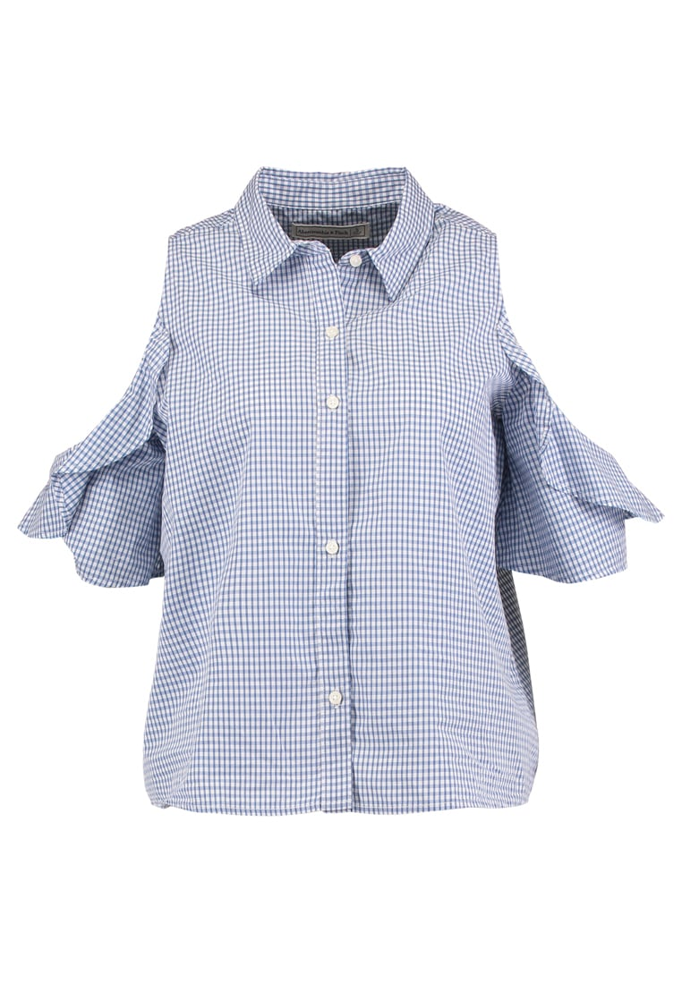 Abercrombie & Fitch RUFFLE COLD SHOLDER Koszula light blue - KI140-7201