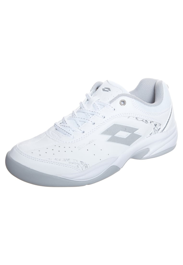 Lotto COURT LOGO 8 SI Buty do tenisa Indoor white/silver - R0943