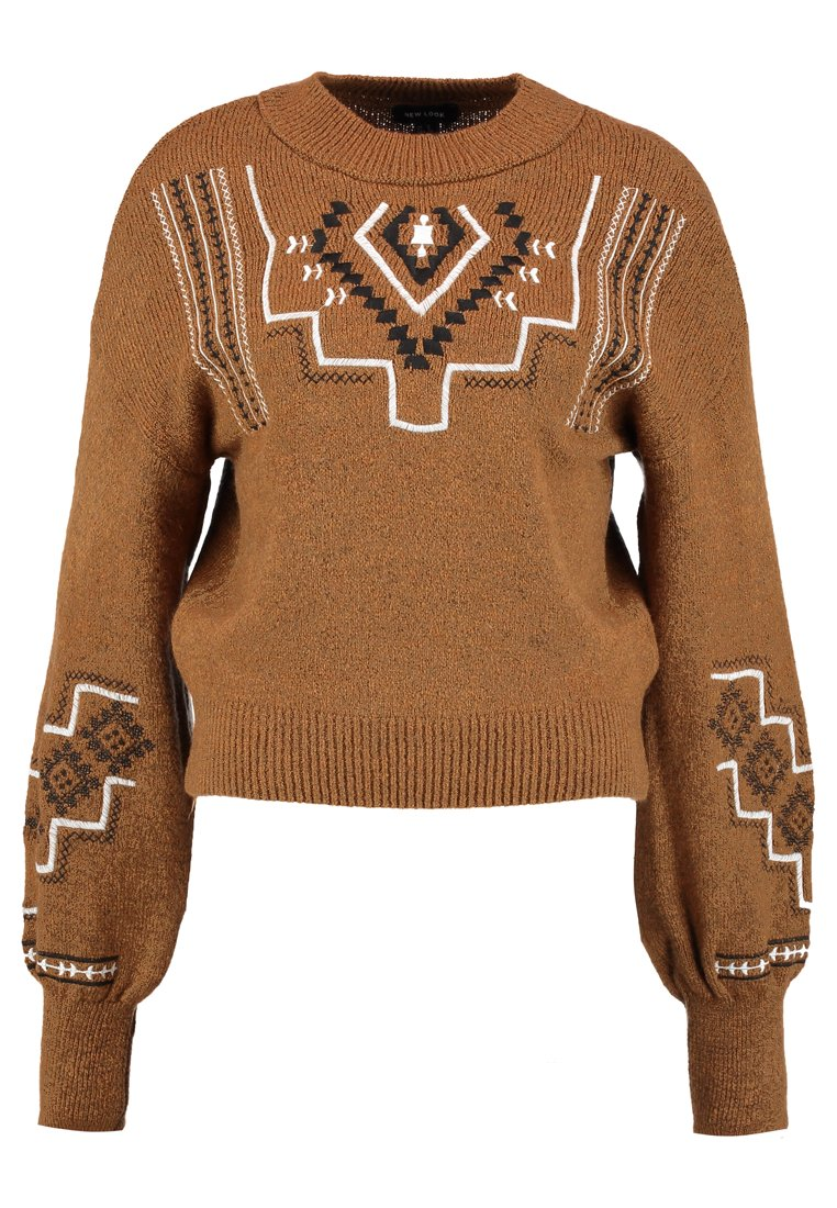 New Look NAVAJO EMBROIDERED JUMPER  Sweter brown